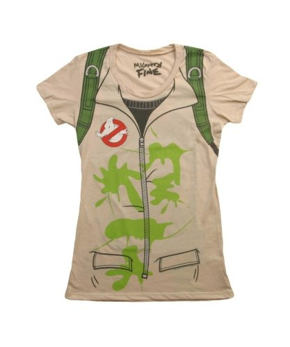 [Mighty Fine Womens Ghostbusters Costume T-Shirt Tan (2X-Large)] (Ghostbusters Womens Costume)