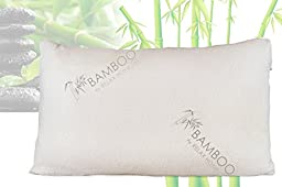 Bamboo By Relax Home Life-Medium Firm Bamboo Pillow With Shredded Memory Foam and Stay Cool Removable Cover (Queen)