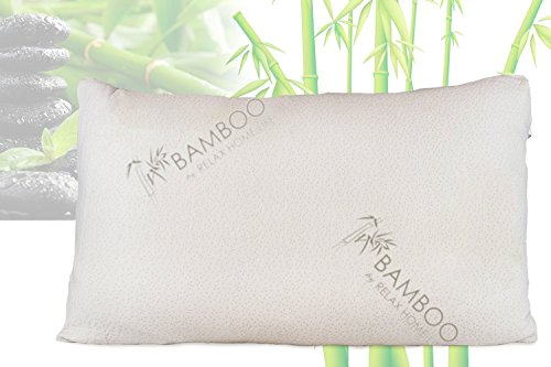 Bamboo By Relax Home Life-Firm Bamboo Pillow With Shredded Memory Foam and Stay Cool Removable Cover (Queen)