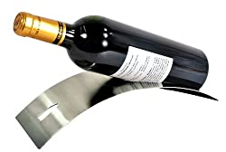 Sleek Modern Contemporary Brushed Stainless Steel Tabletop Single Bottle Serving Display Wine Rack