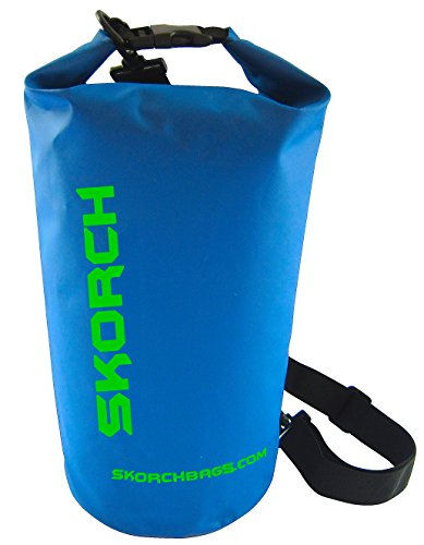 SKORCH Dry Bag – Durable Waterproof Bag with Single Black Adjustable Strap. Size: 8×16 Inches (10 Liter) Dry Sack (Blue with Green)