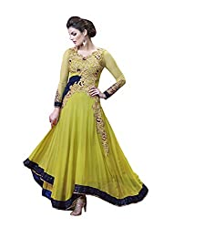 Aryaa fashion Green Embroidered Georgette Semi Stitched Salwar With Dupatta