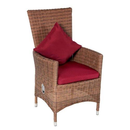 Outflexx Möbel 2-er Set Polyrattan Stuhl verstellbar w18, hellbraun