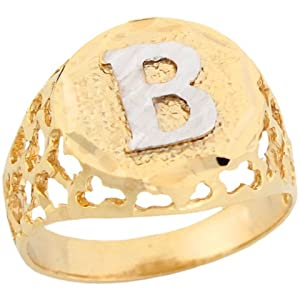 B Letter In Gold Ring 9ct Two Colour Gold Unique