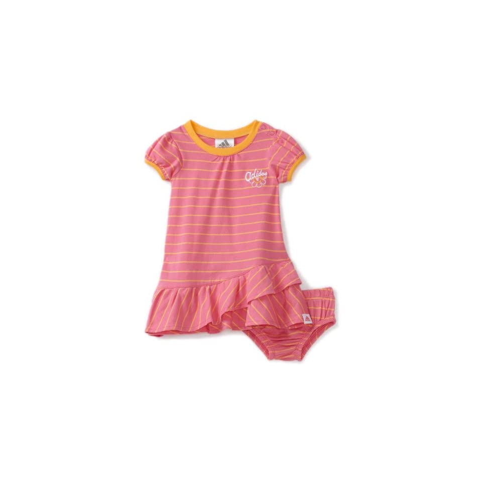 adidas Baby Girls Infant Stripe Play Dress Set, Bright Pink, 3 Months
