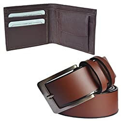 Sunshopping men's brown mix of leather needle pin point buckle belt with brown bifold synthetic wallet (combo)(UO-FRW1) (32)