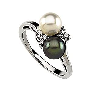Akoya Cultured Pearl, Black Cultured Pearl & Diamond Ring - Size 6