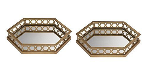 Ribbed Hexagonal Mirrored Tray - Set of 2 by Sterling Industries