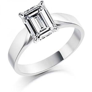 Diamond Manufacturers - Bague de fiançailles avec diamant Émeraude Femme - Or blanc 750/1000 (18 cts) - Diamant 0.28 ct