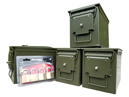 New ACM Blank Fat 50 Cal 4 Pack with Installed Lock Kits and MasterLocks (Ammo Can Lock Kit compare prices)