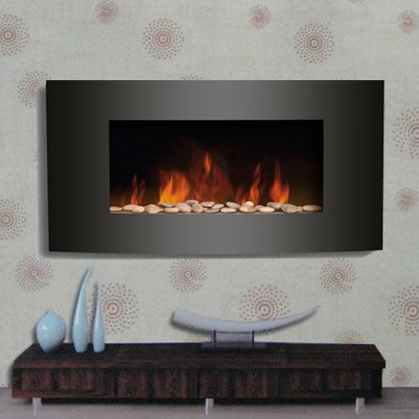 2011 BLACK GLASS CURVED ELECTRIC WALL MOUNTED FIRE PLACE (Free Delivery)
