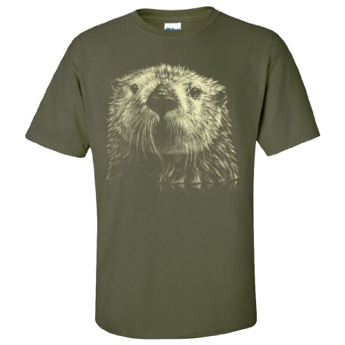 Giant Otter Face T-Shirt/Tee By Dsc - Military Green Large front-594042