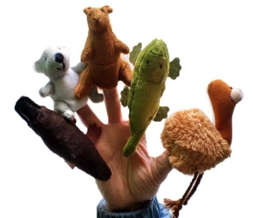 5X Finger Puppets . Children's storytelling helper, hand puppets / finger puppets . Australian animals TY040