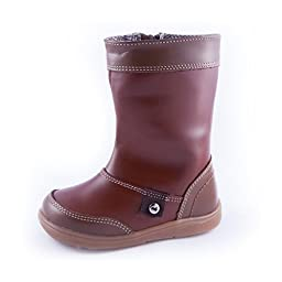 Wobbly Waddlers | FIRST STEPS - ADRIAN |Brown Leather Baby Boots (unisex) arch support| Size 10 Toddler