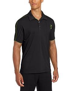 adidas Golf Men's Climalite 3-Stripe Contrast Stitch Jersey Polo, Black/Gardena, Small