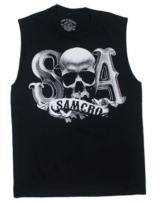 Beveled Skull Logo - Sons Of Anarchy Muscle Tee: Adult XL - Black