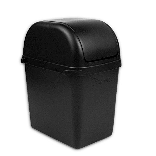 Zone Tech Portable Mini Car Garbage Can with Latch Grip - Classic Black Premium Quality Black Universal Traveling Portable Car Trash Can (Trash Can Carrier compare prices)