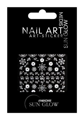 Medis Sun Glow Nagelsticker Ornamente Silber, Blumen/Floral-Motive V, Silber mit Silber-Strass