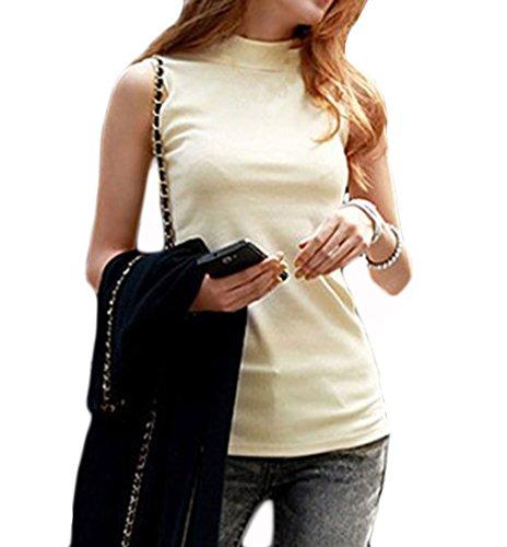 Women's Mock Turtleneck Fullback Sleeveless Shaping Tank Top Shirt Tops Apricot X-Large