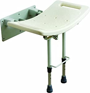 Drive Medical SWALL002 - Asiento para ducha con patas (fijación a pared), color blanco en BebeHogar.com