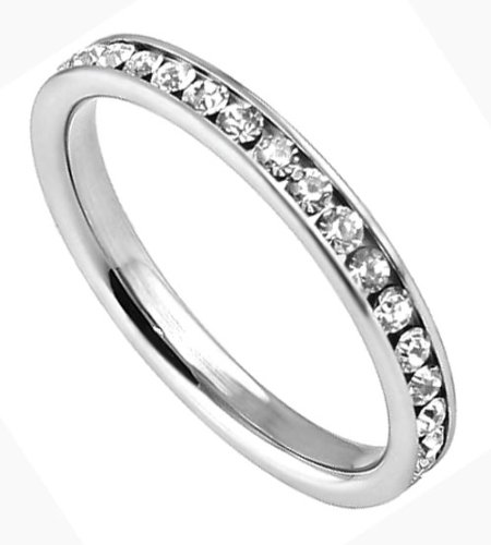 316 Stainless Steel Eternity Ring with Clear CZ Stones - Size 5