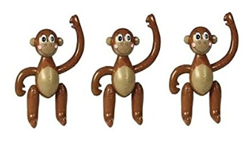 "Set Of 3 Vinyl Inflatable Party Monkeys 23"" / Luau Decor Favors"