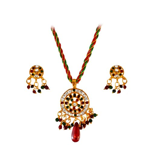 Surat Diamonds Round Shaped Coloured Stone & Gold Plated Pendant Necklace & Earing Set for Women (PS103) (multicolor)