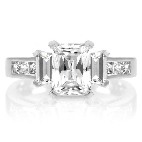 Jada's CZ Emerald Cut Engagement Ring - 1.25ct