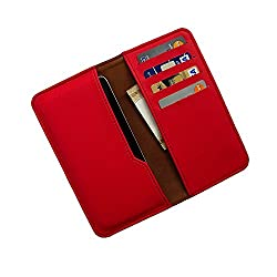 i-KitPit : PU Leather Wallet Flip Pouch Case For Gionee M2 (RED)