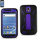 Purple/Black Samsung Galaxy S2 Hercules (Model T989) Premium Heavy Duty Hybrid Case (Outer Silicone + Durable Thick Inner Hard Protector Shell Case W/Kickstand)