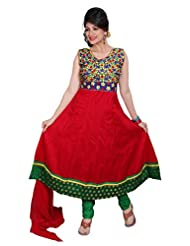 Divinee Red Cotton Readymade Anarkali Red