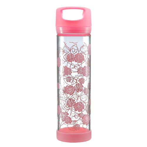 "Pink Roses ""God Is Love"" Tall Glass Drink / Water Bottle"