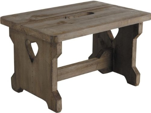 WOODEN STEP STOOL KITCHEN FOOTSTOOL CHILD KIDS SEAT COUNTRY VINTAGE HEART DETAIL