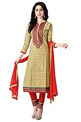 Justkartit Women's Unstitched Beige Colour Pant Style Salwar Kameez / Formal Work Wear Salwar Suit / Office wear Simple & Sober Salwar Kameez ( June 2016 WorkWear Collection)