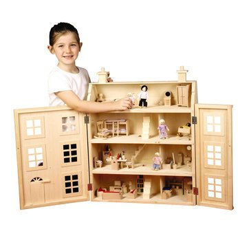 WOODEN DOLLS HOUSE WITH 100 PIECES FURNITURE