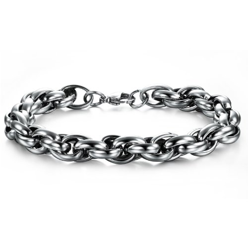 OPK-New Fashion Jewelry Multilayered Silver Cool Men's 316L Stainless Steel Bracelet Bangle Best Gift 8.66 Inch Length 10mm Width 57G Weight