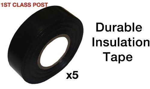 5X Pvc Electrical Insulation Tape - Black - 19Mm X 20M Roll