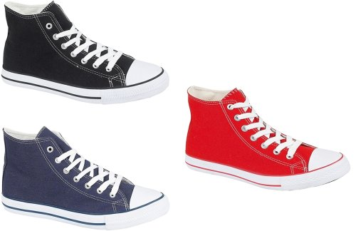 Canvas Baseball Boots in Black Navy Red Sizes 7 8 9 10 11 12