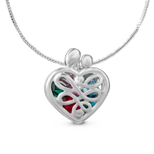 Sterling Silver Mother's Heart Birthstone Locket, Small