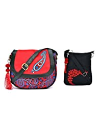 Combo Of Kairi Printed Canvas PU Cross Body Sling With Tassel With Black Small Sling Bag