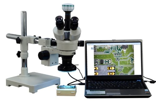 Omax 3.5X-90X Digital Zoom Trinocular Single-Bar Boom Stand Stereo Microscope With 2.0Mp Usb Camera And 144 Led Ring Light With Light Control Box