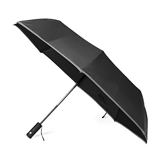 Yitote Windproof Travel Umbrellas with Extra Rotating Flashlight Reflective Stripe Edge Safety in the Dark, Automatic Open Close - Black