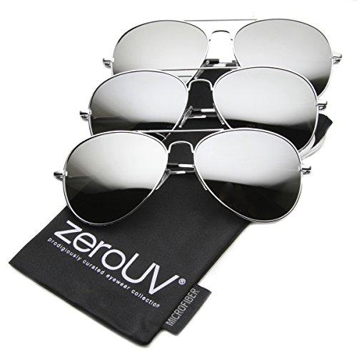 zeroUV - Premium Mirrored Aviator Top Gun Sunglasses w/ Spring Loaded Temples (3-Pack | Silver)