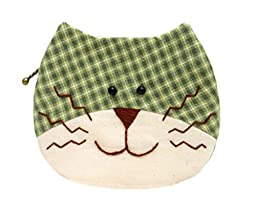 Teens Easy Patchwork Sewing Kit Cat Purse Bag Craft Project to Sew for Beginner (Green)