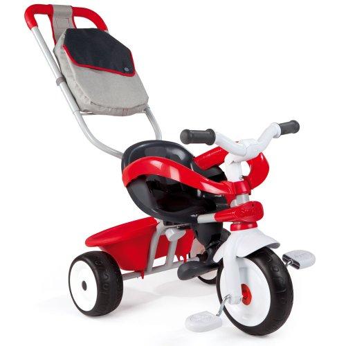 Smoby Baby Driver V Rouge - Dreirad und Schiebewagen mit Premiumausstattung // Kinder Baby Dreirad Trike Kinderdreirad Schubstange Schiebestange Schiebewagen