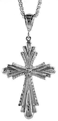 Sterling Silver Cross Pendant, 2 3/4 inch (68 mm) tall