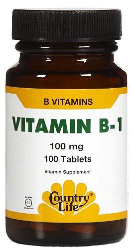 Country Life Vitamin B-1, 100 Tabs 100 MG