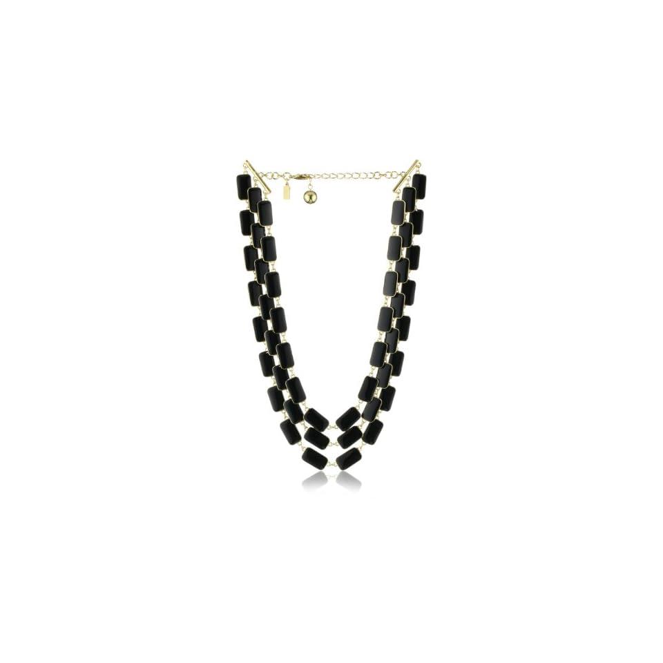 Kate Spade New York Park Guell 3 Row Black Bib Necklace