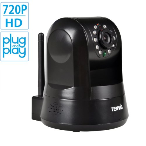 Best Review Of TENVIS IPROBOT3 H.264 720P HD P2P Pan & Tilt Wirelss IP/Network Camera with Two-Way Audio and Night Vision (Black)