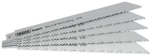 02299 Expert6 Teeth Per Inch Bi-metal Reciprocating Saw Blades For Wood And Nail Cutting (pack Of 5) By Draper